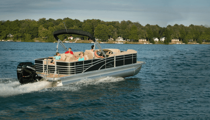 Another side view of a luxury Pontoon boat